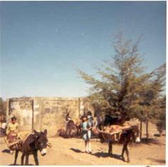 Viaje y viaje de agua, al estilo de los setenta, desde el depósito en  la plaza