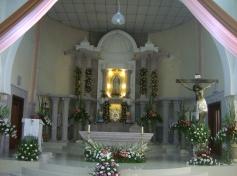 El templo de Ziquítaro, bellamente adornado para la celebración